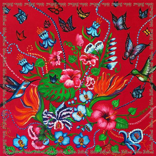 Exotic Garden silk scarf 110x110 cm