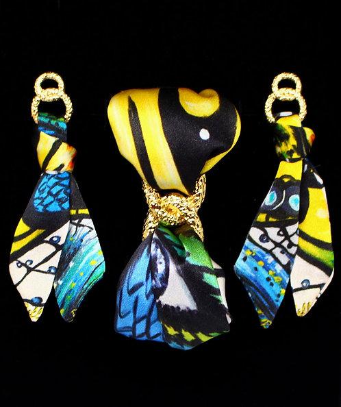 Caught Butterfly silk tie earring & bracelet set