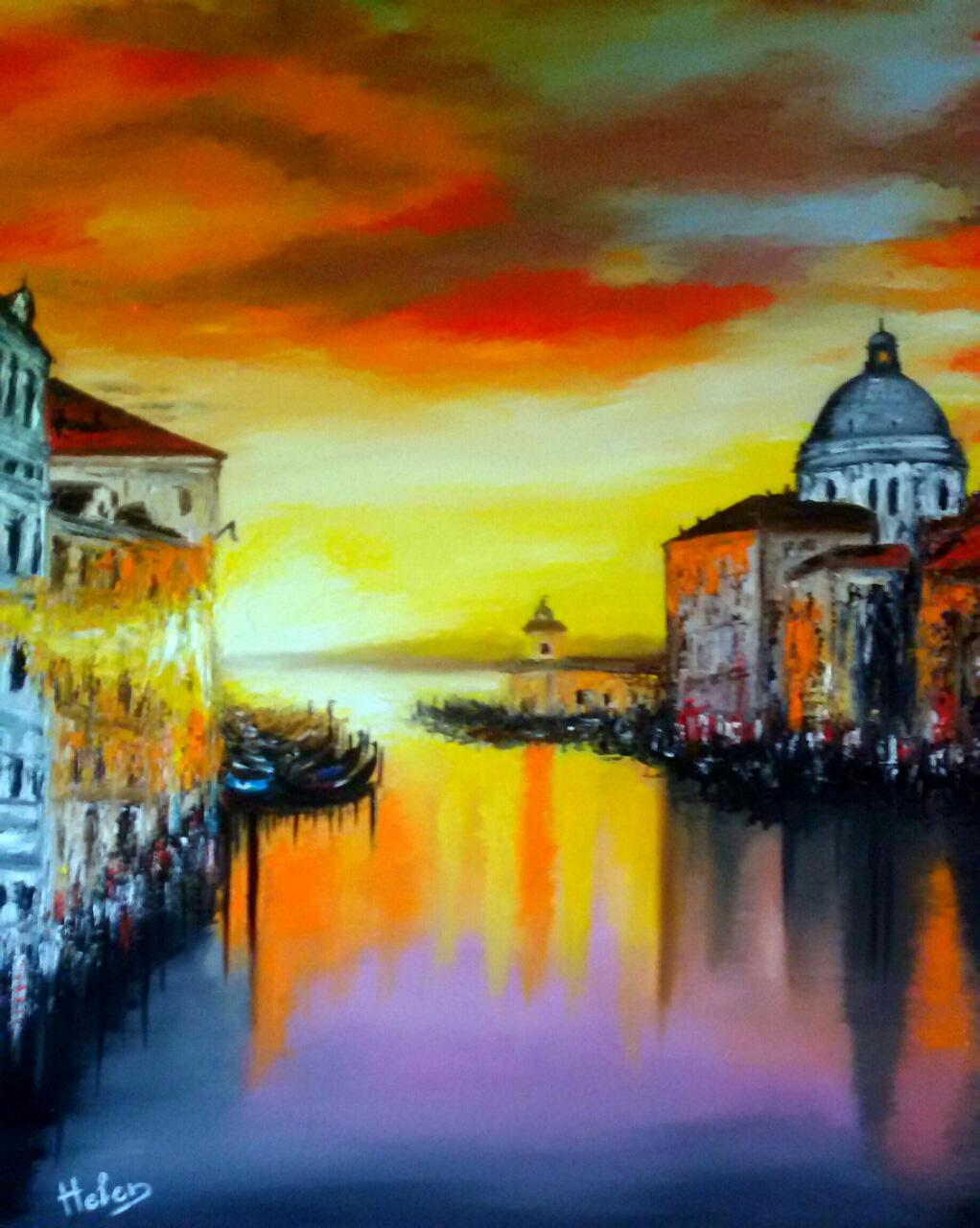 Sunrise in Venice, 81x65cm