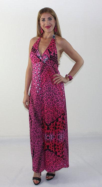 Pink Leopard long backless dress