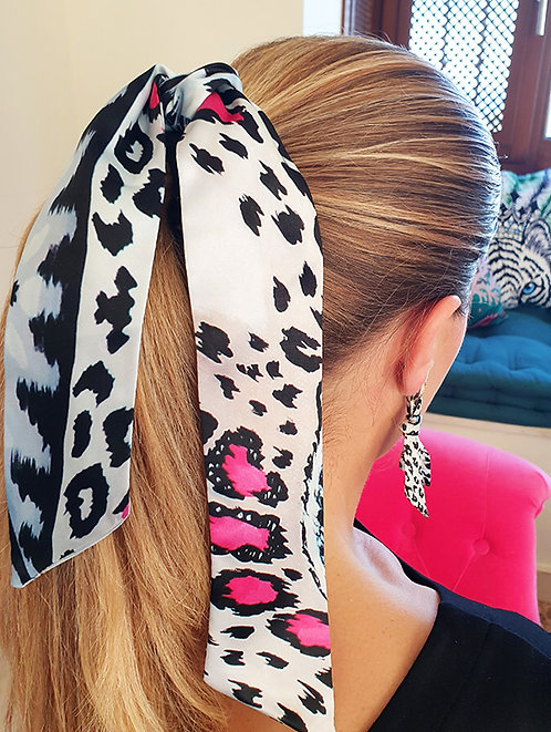 White Leopard bow scrunchie