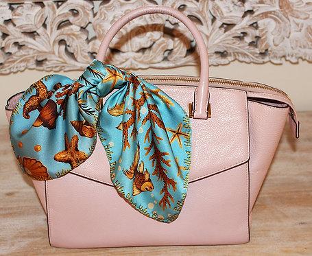Sea Treasure silk scarf 45x45 cm
