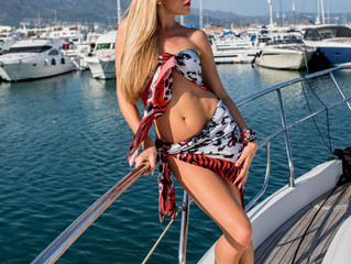 Fashion Shooting on a yacht in Puerto Banus Harbour Marbella.