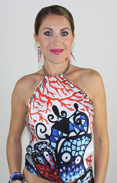 Coral Butterfly silk top