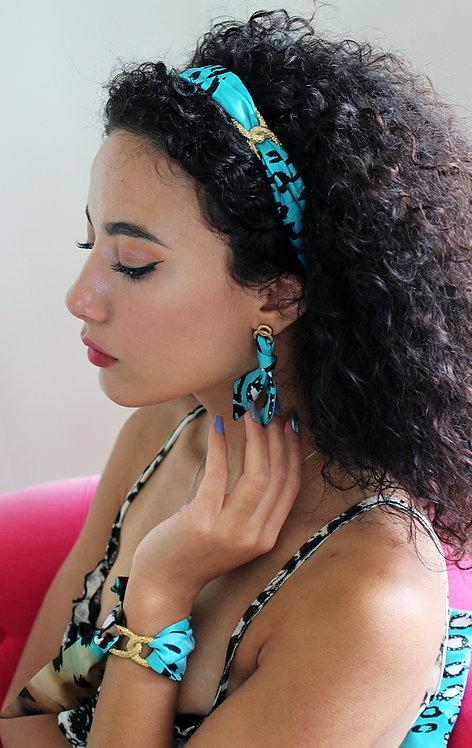 Turquoise Leopard Infinity Headband