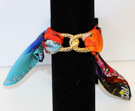 Colorful Corals Infinity silk bracelet