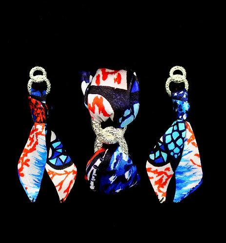Coral Butterfly silk tie earring & bracelet set