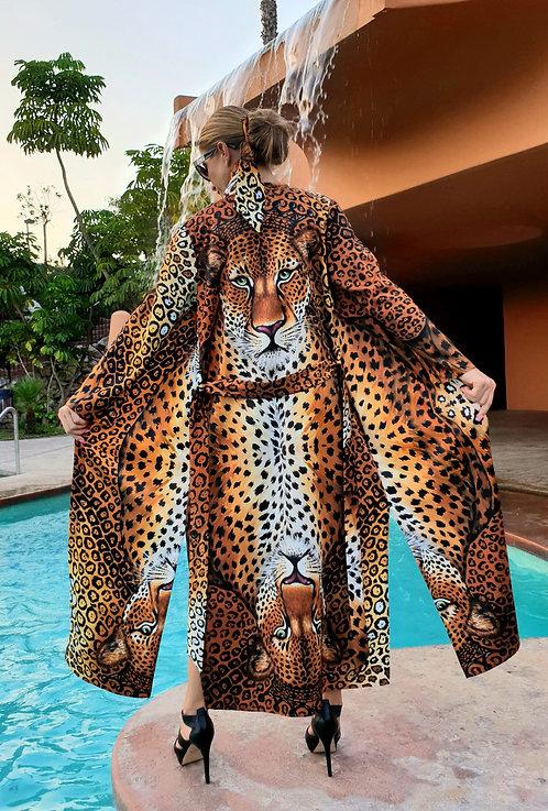 Jaguar long kimono-cardigan