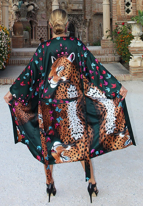 Leopard & Butterflies kimono
