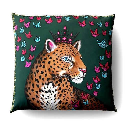 Leopard & Butterflies decorative pillow cover