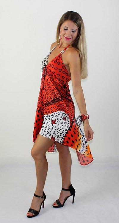 Orange Leopard silk dress