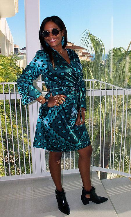 Esmeralda Leopard crossover dress