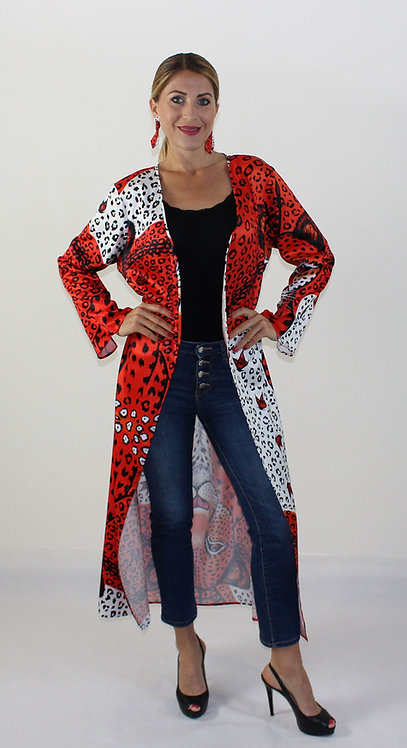 Orange Leopard long kimono-cardigan