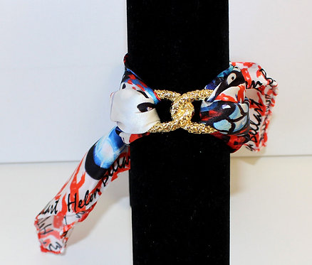 Coral Butterfly Infinity silk bracelet