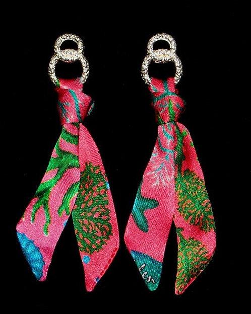 Seafloor silk tie earring