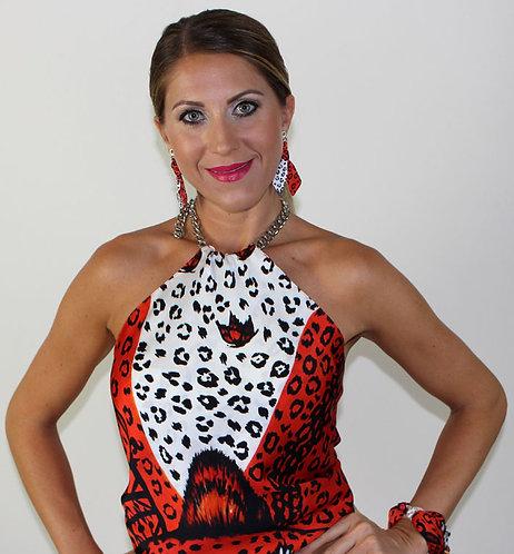 Orange Leopard silk top