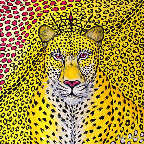 Yellow Leopard silk scarf 110x110 cm