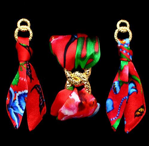 Exotic Garden silk tie earring & bracelet