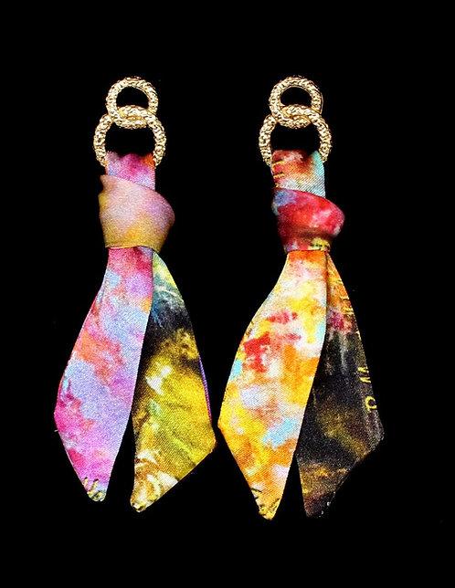 Autumn silk tie earring
