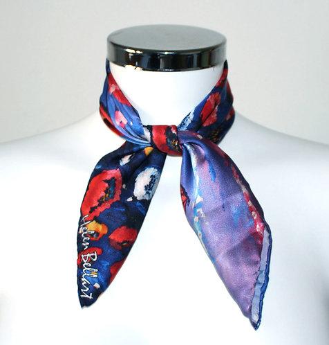 Poppy silk scarf 45x45 cm