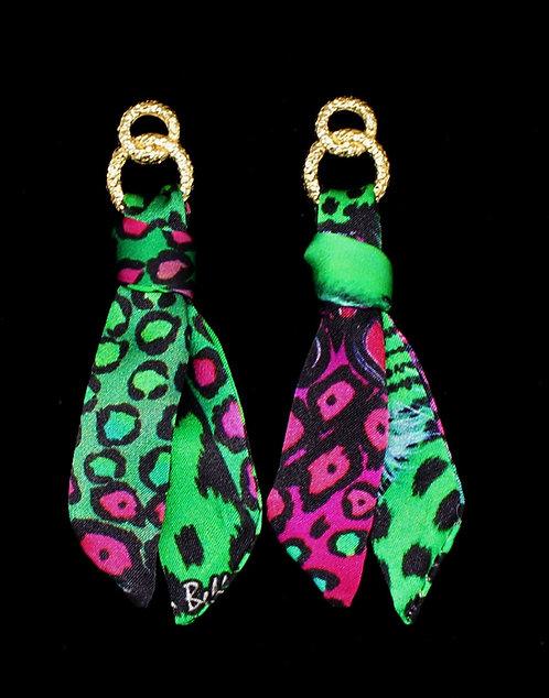 Exotic Leopard silk tie earring