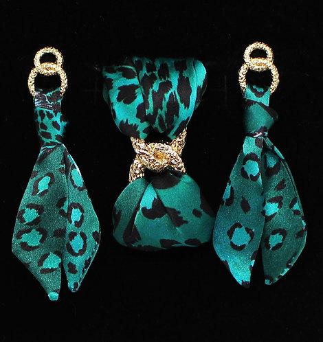 Esmeralda Leopard tie earring & bracelet