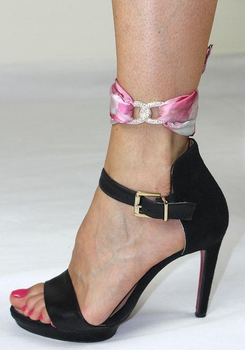 Pink peony ankle silk bracelet