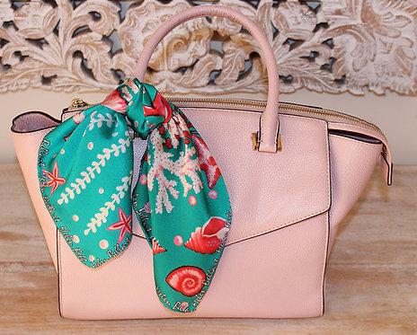 Pink Seahorse silk scarf 45x45 cm