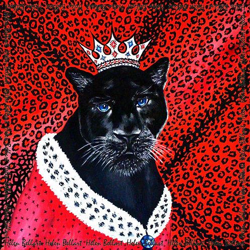 Panther silk scarf 110x110 cm