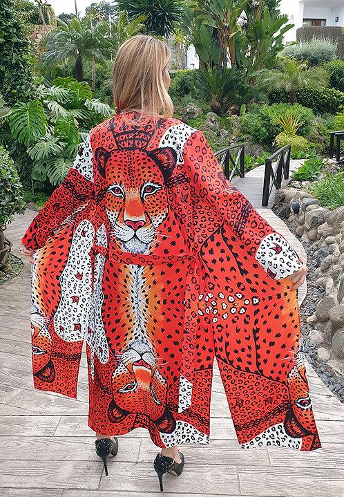Orange Leopard long kimono