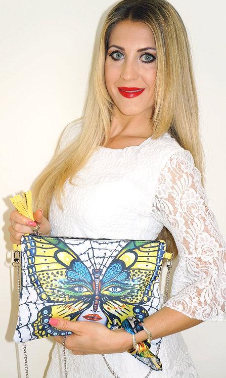 Caught Butterfly clutch bag & silk bracelet