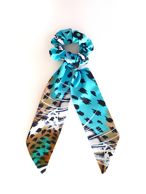 Turquoise Leopard bow scrunchie