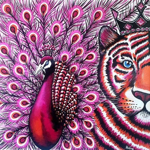 Pink Peacock & Tiger artwork