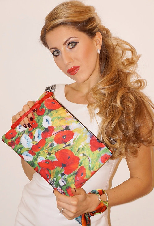 Poppies clutch bag & silk bracelet