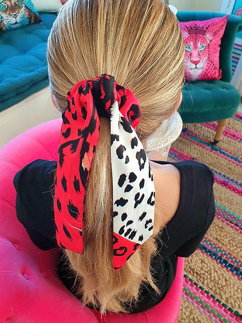 Orange Leopard bow scrunchie