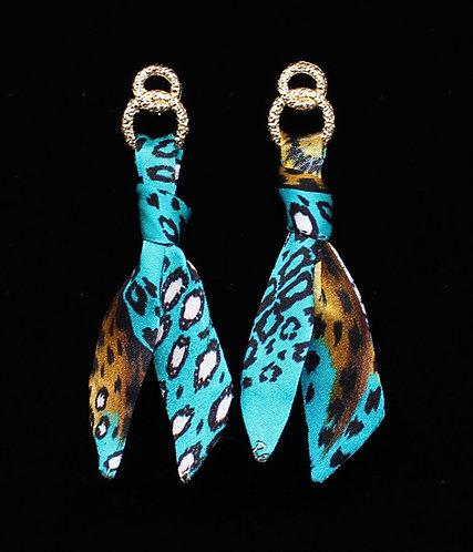 Turquoise Leopard silk tie earring