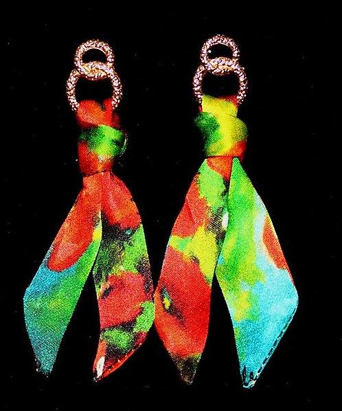Poppies silk tie earring