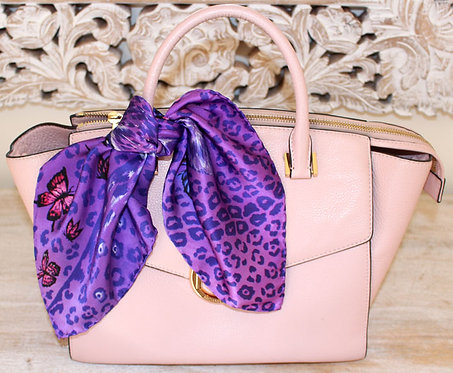 Purple Animal Print silk scarf 45x45 cm