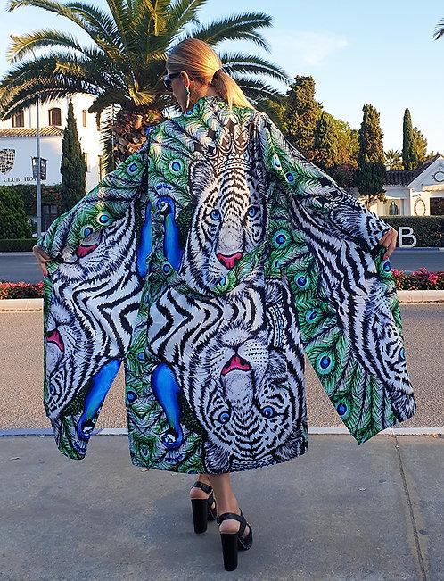 White Tiger long kimono