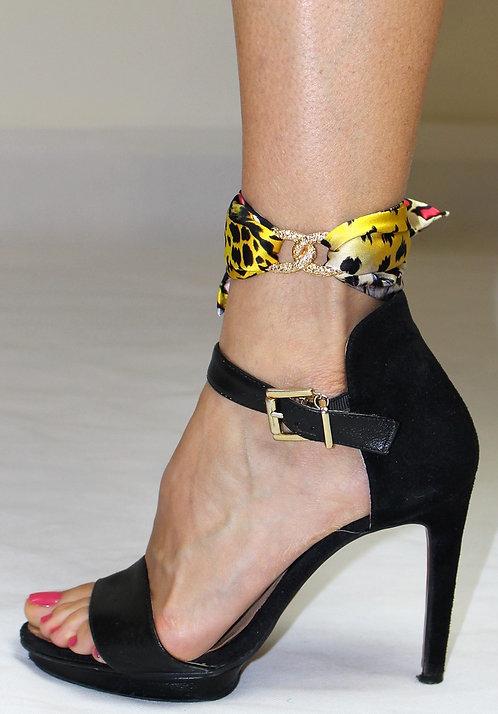 Yellow Leopard ankle silk bracelet