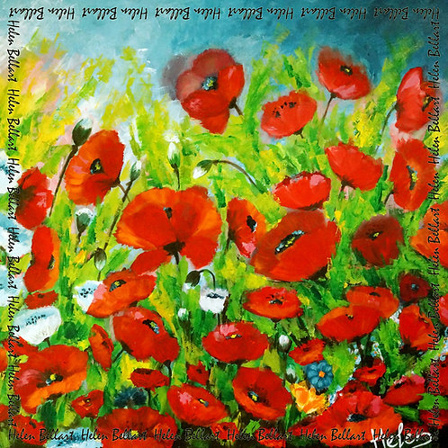 Poppies silk scarf 110x110 cm
