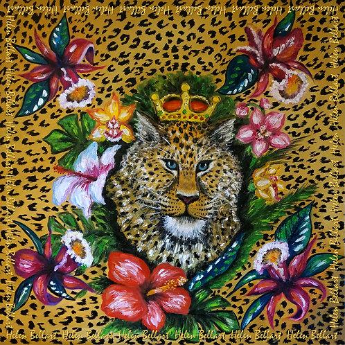 Leopard silk scarf 110x110 cm