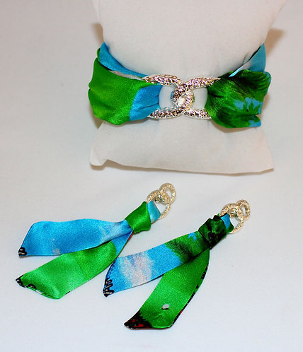 Golf Lady silk tie earring & bracelet set