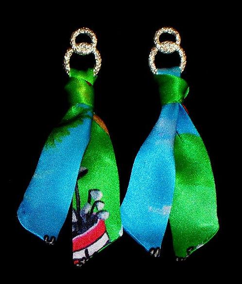 Golf Lady silk tie earring