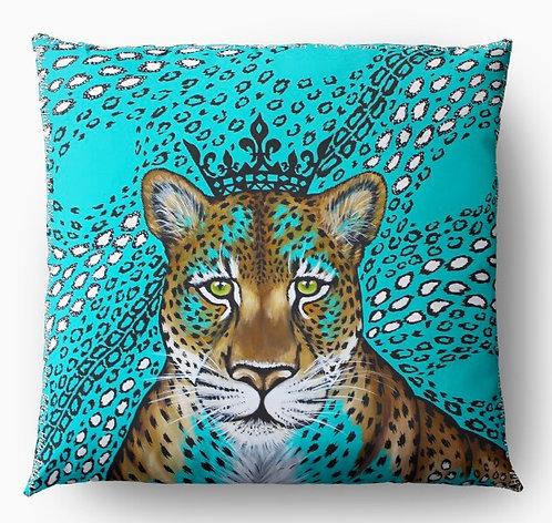 Turquoise leopard decorative pillow cover