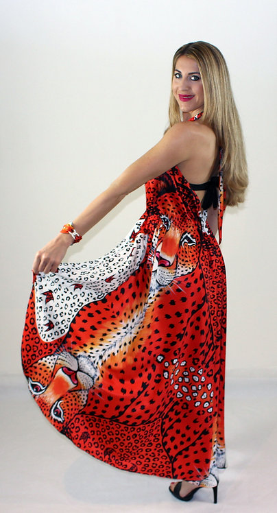 Orange Leopard crossover dress with double use