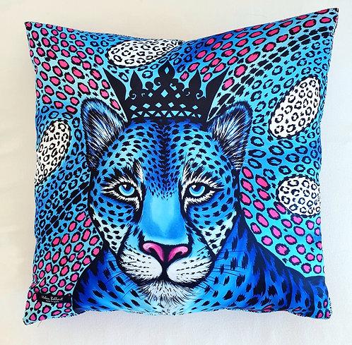 Blue Leopard decorative pillow cover