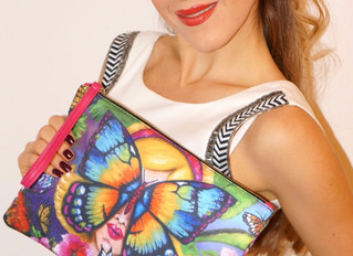 SET Combination of stylish clutch bag & silk bracelet by Helen Bellart