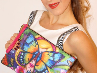 SET Combination of stylish clutch bag & silk bracelet by Helen Bellart