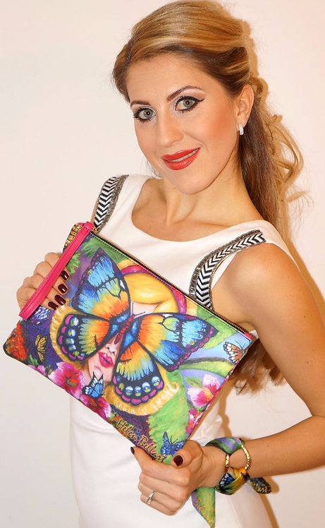 Butterfly clutch bag & silk bracelet